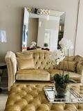Luxury Recency Velvet Sofa ,Foot Stool 2 x Herringbone Raspberry Chairs